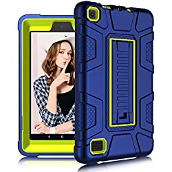 DONWELL Fire 7 2017 Case New Hybrid Shockproof Defender Protective Armor Cover with Kickstand for Amazon Kindle Fire 7 2017 / All-New Amazon Fire HD 7 (Navy Blue/Lemon Yellow)