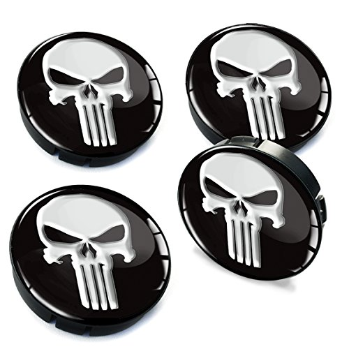 Skino 4 x 2.36 3D Gel Car Rims Wheel Center Hub Caps Auto Tuning Skull Punisher C ()