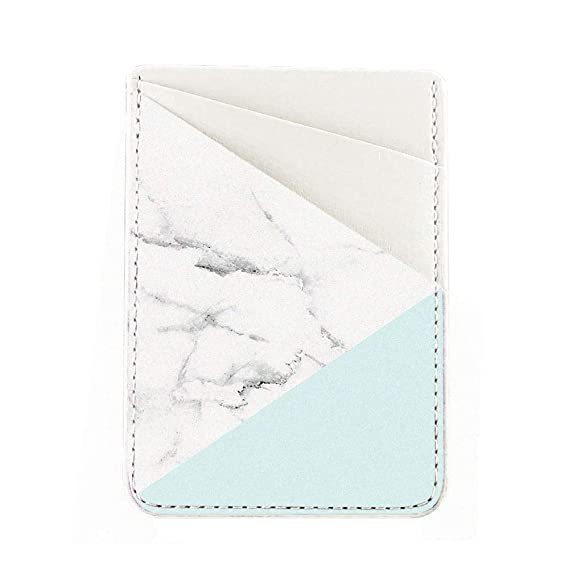 online retailer ad5b3 d49c6 Obbii Tiffany Marble PU Leather Card Holder for Back of Phone with 3M  Adhesive Stick-on Credit Card Wallet Pockets for iPhone and Android  Smartphones