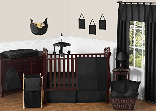 Solid Black Minky Dot Neutral Baby Girl Boy Unisex Bedding 1