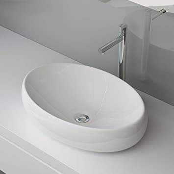 BxTxH: 60x41x15 CM KERAMIK AUFSATZWASCHBECKEN WASCHTISCH ...   {Aufsatzwaschbecken gäste wc oval 17}