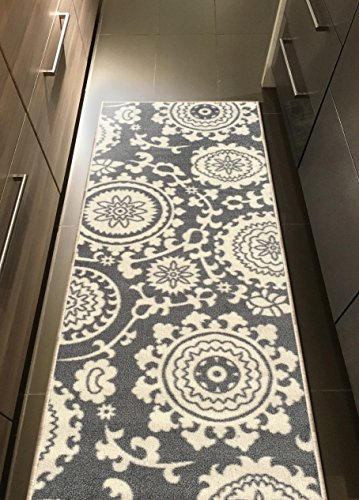 Kapaqua Rubber Backed 20'' x 59'' Floral Swirl Medallion Grey & Ivory Runner Non-Slip Rug - Rana Collection Kitchen Dining Living Hallway Bathroom Pet Entry Rugs RAN2033-25 by Kapaqua