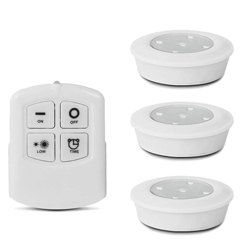 KOBWA LED Under Cabinet Lights, Wireless Puck Lights with Remote-Controlle,Timer and Brightness Control Cabinet Light,Battery Operated,Warm White(3-Pack)