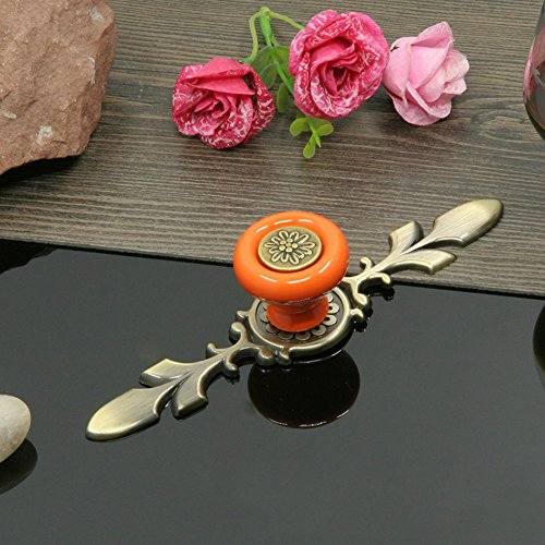 Art Deco Cabinet Drawer Pulls (Sytian 7pcs Candy Color Pretty Vintage Style Ceramic Pumpkin Drawer Knobs Dresser Cabinet Cupboard Wardrobe Pull Handles Door Knobs - With Screw (Pretty Orange))