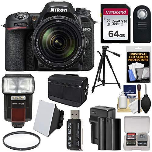 (Nikon D7500 Wi-Fi 4K Digital SLR Camera & 18-140mm VR DX Lens + 64GB Card + Battery & Charger + Shoulder Bag + Tripod + Flash + Soft Box + Filter Kit)