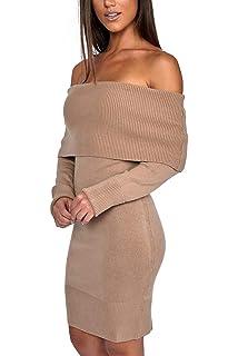 6815e3ec670e Miss Floral® Womens Off Shoulder Long Sleeve Bodaycon Jumper Dress 6 Colour  Size 6-