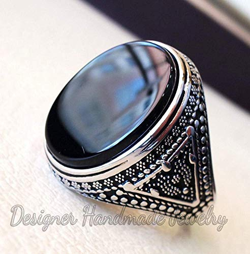 (Aqeeq natural black onyx huge big stone oval black flat gem man ring sterling silver arabic middle eastern turkey style fast shipping)