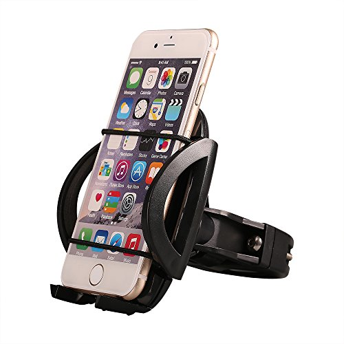 Bike Phone Mount Bicycle Holder, Comsun Universal Phone Stand Adjustable Bike Cradle for Handlebars GPS Navigation 360 Degree Rotation Plastic Black (Portable Boat Seats)