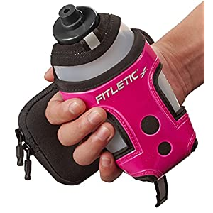 Fitletic H2Connect - 12 ounce Handheld Sports Water Bottle with Mobile Phone Case - fits Galaxy Smartphones and iPhone 6+, (Pink)