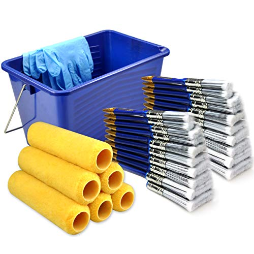 Great Value 31 Piece,paint roller covers 9 inch,paint roller,paint brush,paint brushes,paint bucket (Best Deck Cover Paint)
