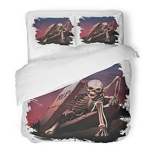 Emvency Bedding Duvet Cover Set Full/Queen Size (1 Duvet Cover + 2 Pillowcase) Awake Skeleton from Coffin Body Bones Dark Dead Death Evil Grave Hotel Quality Wrinkle -