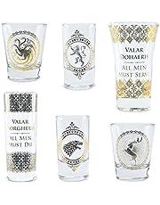 Game of Thrones Z888810 glas uppsättning av 6 Dohaeris/Valar Morghulis, flerfärgad, 6 stycken (1-pack)