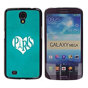 Paccase / SLIM PC / Aliminium Casa Carcasa Funda Case Cover - Eifel Tower Love Heart Travel France - Samsung Galaxy Mega 6.3 I9200 SGH-i527