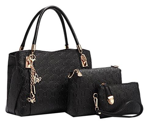3 teiliges Damen Handtaschenset im Vintage Style Leder Henkeltasche Crossbody Tasche Handgelenktasche