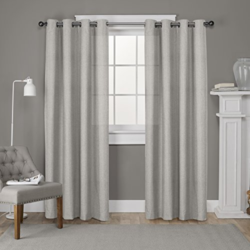 Exclusive Home Curtains Loha Linen Grommet Top Window Curtain Panel Pair, Beige, 52x84 Top Window Panel