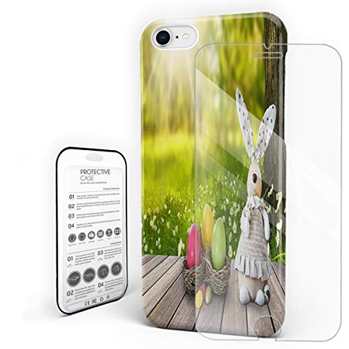 Compatible with iPhone 7 Case and iPhone 8 Case, Hard PC Back Phone Case with Tempered Glass Screen Protector Sunshine Boardwalk Rabbit Easter Egg in The Park Shockproof Protective Cover -