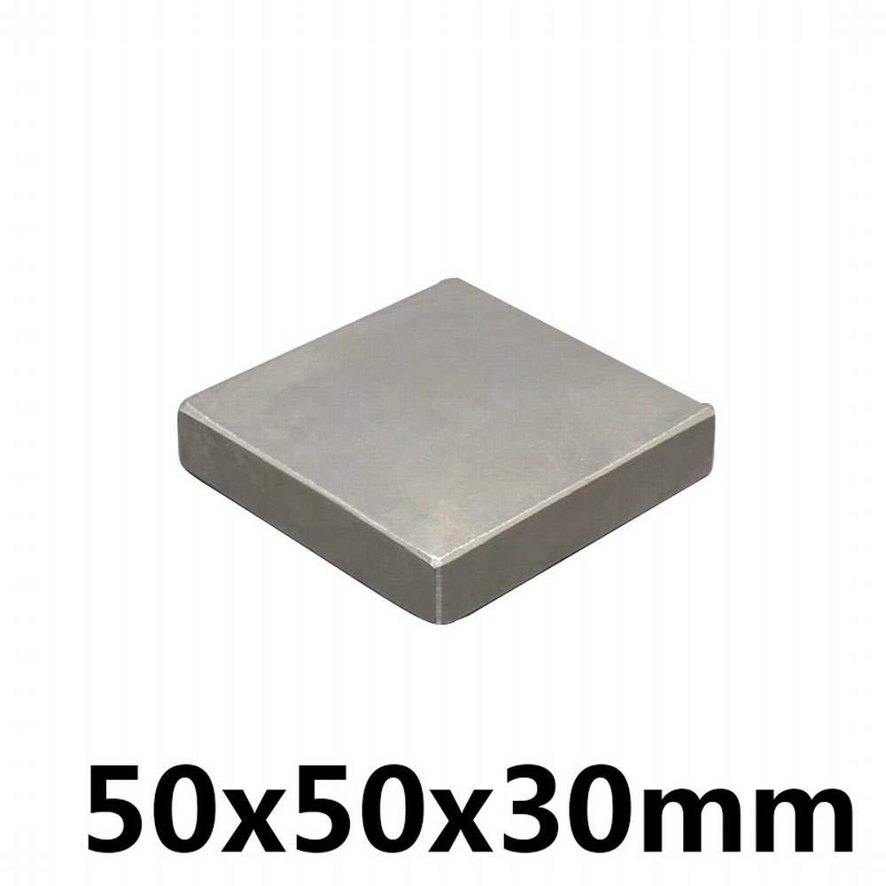 Silver - 2 Pcs Neodymium Magnet 50x50x30mm Permanent NdFeB N35 Small Mini Super Powerful Strong Magnetic Magnets for Crafts Gallium Metal