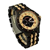 Ideashop Men's Date Time Week 24 Hours Wood Watches Luxury QUARTZ Wood Watch Night Vision Gift Watches