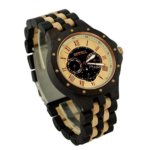 Vision Wood (Ideashop Men's Date Time Week 24 Hours Wood Watches Luxury QUARTZ Wood Watch Night Vision Gift)