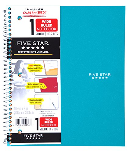 Five Star Wirebound Notebook, 1 Subject, 100 Wide-Ruled Sheets, 8 x 10.5 Inches Size, Teal (72875)