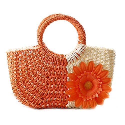 Femme Paille Hobo Vacances Plage Bag À Casual Tricoté Été Tournesol Sac Orange DELEY Main BxdqfFwq