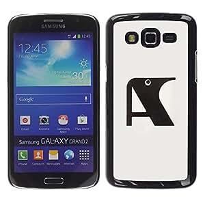 MobileHut / Samsung Galaxy Grand 2 SM-G7102 SM-G7105 / A Raven Initial Letter Grey Black / Delgado Negro Plástico caso cubierta Shell Armor Funda Case Cover