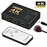 HDMI Switch 4k,GANA Intelligent 3-Port HDMI Switcher,splitter, Supports 4K, Full HD1080p, 3D