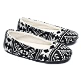 Ofoot Women's Ballerina Slippers,Woman Indoor House Shoes,Soft Warm Velvet Lined Snowflake Knit Patterns(Medium / 7-8 B(M) US, Black)