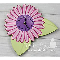 Hot Pink and Purple Flower Wooden WALL CLOCK Girls Bedroom Baby Nursery Art Decor WC0030