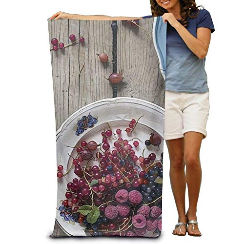 Bath Towel Raspberry Grape Fruits Art Painting Filter Patterned Soft Beach Towel 31