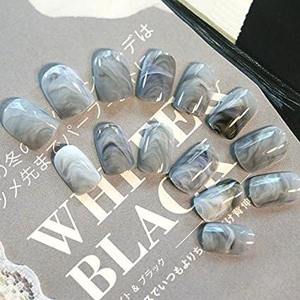 Pinzhi 24 x gris mármol una uña tips corta uñas postizas acrílico completo cover Nail