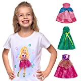 Little Girls T Shirt with 3 Doll Dresses Attached with Velcro 4-12 Year Old Girl Gifts Girls T Shirts Size 10 12