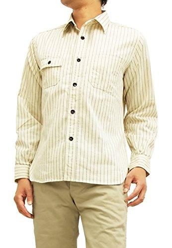 虐殺ダイアクリティカル気まぐれな(シュガーケーン) sugar cane ホワイトウォバッシュストライプ ワークシャツ SC27076 メンズ 長袖シャツ