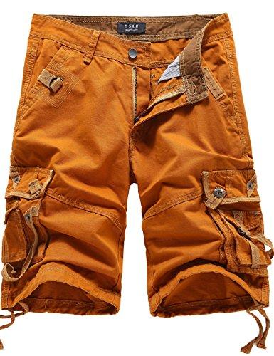 SSLR Men's Cotton Flat Front Army Cargo Shorts (29, Yellow)