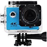 Acouto Action Camera 16M 4K 2.4G Wifi Waterproof Sports Cam 170°Wide Angle with Waterproof Housing Case and Remote Control Accessories Kits (Blue)