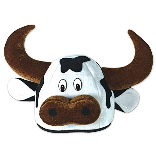 Spotted Plush Cow Bull Novelty Hat w/ Horns