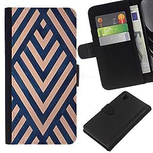 KLONGSHOP // Tirón de la caja Cartera de cuero con ranuras para tarjetas - Modelo del art déco Azul Beige Líneas - Sony Xperia Z1 L39 //