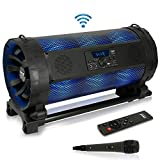 Portable Bluetooth Boombox Stereo System - 600 W Digital Outdoor Wireless Loud Speaker w/LED Lights, FM Radio, MP3 Player, USB, Wheels - Includes Karaoke Microphone, Remote Control - Pyle PBMSPG198