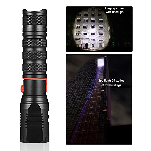 (Metal Square Cone Waterproof Flashlight LED Flashlight 150LM-250LM 3 Modes Zoomable Adjustable Focus Outdoor LED Torch Light)