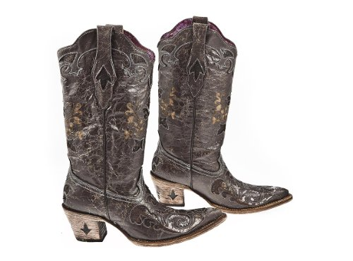 - Cuadra Cowgirl Womens Boots Cowhide and Python Leather - Handmade - Sizes from 6 to 10 (8 B(M) US, Baby Blue Brown)