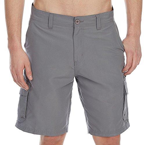 Burnside Guys Microfiber Traveler Solid Cargo Shorts Grey Black ()
