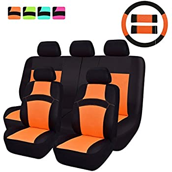 NEW ARRIVAL CAR PASS RAINBOW Universal Fit Car Seat Cover 100 Breathable With 5mm Composite Sponge InsideAirbag Compatible14PCS Sport Orange