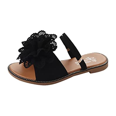 3057dcdcd Fheaven Women Summer Flower Flat Sandals Dress Sandal Beach Slipper  (US 6.5