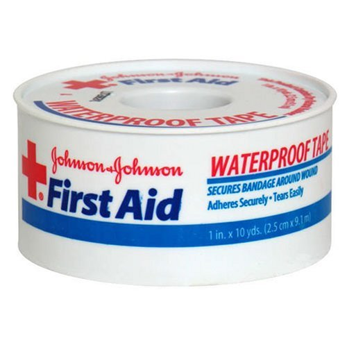 Johnson & Johnson First Aid Waterproof Tape (1-Inch x 10-Yards) (Pack of 2) Adhesive First Aid Tape