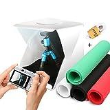 AFAITH Mini Folding Photo Studio Kit,Portable Photography Studio Tent Light Box with LED Light Foldable Led Light Tent (30*30cm)+ Four Backgrounds (Red,Green,White and Black) Medium AF033