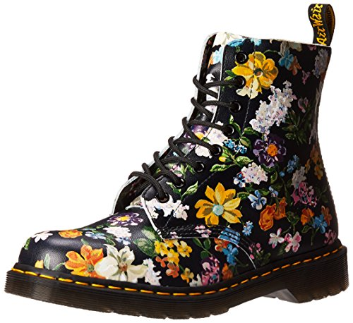 Dr. Martens Women's Darcy Floral Pascal DF Ankle Boot, Black, 4 Medium UK (6 - Designer Boots Uk Ladies
