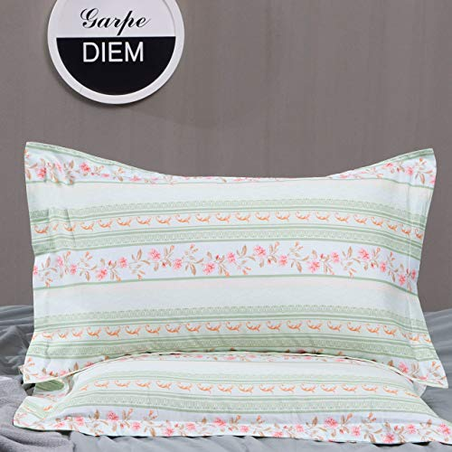 TEALP Green Stripes Pillow Sham Floral Printed Pillowcase Pink Flower Pillow Covers Reversible Striped Shabby Pillow Shams Standard Decorative Pillowcases Envelope Closure, (2 Pieces, Queen, 20