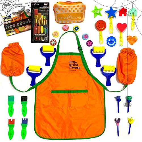 Cre8tivePick kids art craft fun painting drawing tools for kids, waterproof apron with sleeves ebook with painting ideas, painting set, kids art, sponge brushes, art kit
