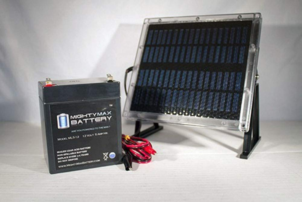 Mighty Max Battery 12V 5AH Replaces Power Sonic PS1250 + 12V Solar Panel Charger Brand Product by Mighty Max Battery
