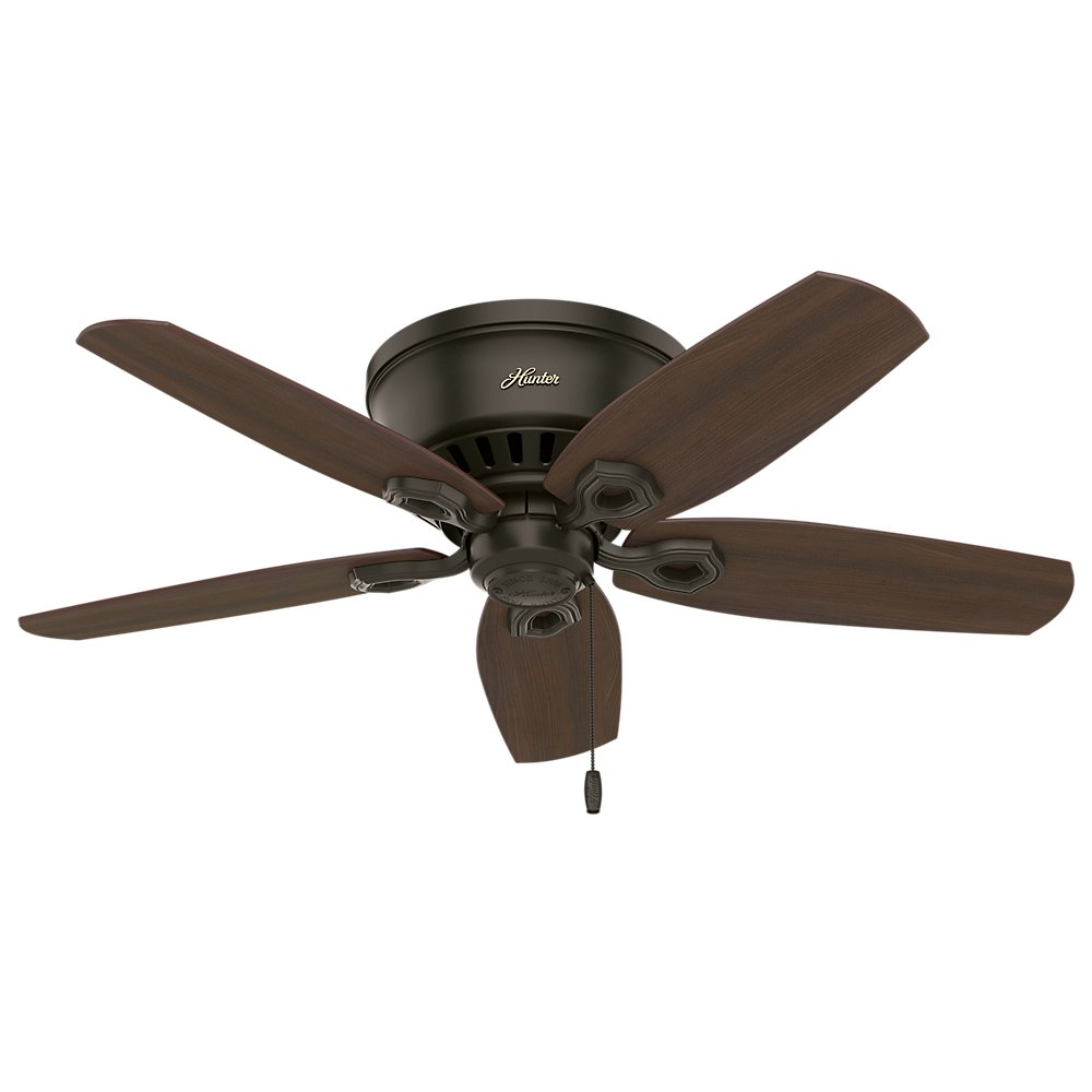 Hunter Indoor Low Profile Ceiling Fan, with pull chain control – Builder 42 inch, New Bronze, 51091